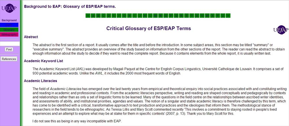 Critical Glossary of ESP/EAP Terms